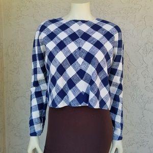 Zara Woman Blue Checked Long Sleeve Crop Top